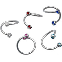 Stainless Steel Nose Piercing Jewelry, with rhinestone, mixed colors, 1.2x8x3mm, Sold By PC