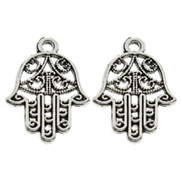 Zinc Alloy Hamsa Pendants, antique silver color plated, Islamic jewelry, lead & cadmium free, 14.5x21x1mm, Hole:Approx 1mm, 1000PCs/Bag, Sold By Bag