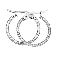Stainless Steel Hoop Earring, original color, 19.5x22x1.5mm, Sold By Pair