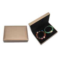 PU Bracelet Box, with Cardboard & Velveteen, Rectangle, coffee color, 69x82x36mm, Sold By PC