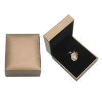 PU Pendant Box, with Cardboard & Velveteen, Rectangle, coffee color, 75x50x44mm, Sold By PC
