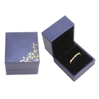PU Single Ring Box, with Cardboard & Velveteen, Rectangle, purple, 47x53x37mm, Sold By PC