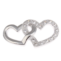 Brass Costume Accessories, Heart, platinum color plated, micro pave cubic zirconia, nickel, lead & cadmium free, 25x14x3mm, Sold By PC