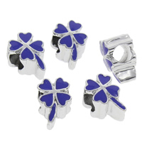 Enamel Zinc Alloy European Beads, Four Leaf Clover, platinum color plated, without troll, more colors for choice, lead & cadmium free, 10x14x9mm, Hole:Approx 5mm, Sold By PC