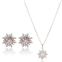 Brass Cubic Zirconia Jewelry Sets, earring & necklace, Snowflake, real gold plated, bar chain & with cubic zirconia, nickel, lead & cadmium free, 400mm, Length:Approx 15.5 Inch, Sold By Set