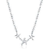 comeon® Jewelry Necklace, Brass, with 1.9lnch extender chain, Starfish, real silver plated, rolo chain & for woman, 26x22mm, Length:Approx 17.7 Inch, Sold By Strand