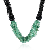 comeon® Jewelry Necklace, Green Aventurine, with Nylon Cord & Glass, natural, for woman, Length:Approx 17.7 Inch, Sold By Strand