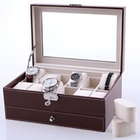 PU Jewelry Set Box, with Velveteen & Glass & Zinc Alloy, Rectangle, platinum color plated, coffee color, 300x200x128mm, Sold By PC
