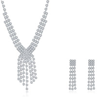 Wedding Jewelry Set, Brass, earring & necklace, with rubber earnut, with 1.9lnch extender chain, silver color plated, for bridal & for woman & with rhinestone, 10x60mm,21x63mm, Length:Approx 18 Inch, Sold By Set