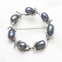 Freshwater Pearl Brooch, Brass, with Freshwater Pearl, Rice, platinum color plated, nickel, lead & cadmium free, 7-8mm, Sold By PC