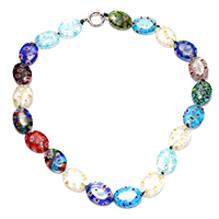 Murano Millefiori Lampwork Necklace, brass spring ring clasp, platinum color plated, for woman, 18x13x4mm, 16x14x2mm, Length:Approx 16 Inch, Sold By Strand