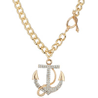 Coconut Pendants, Zinc Alloy, with iron chain, Anchor, gold color plated, curb chain & with rhinestone, lead & cadmium free, 40x50mm, Length:Approx 18.5 Inch, Sold By Strand