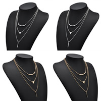 Fashion Multi Layer Necklace, Zinc Alloy, with iron chain, plated, oval chain & for woman & 3-strand, more colors for choice, lead & cadmium free, 40cm, Length:Approx 15.7 Inch, Sold By Strand