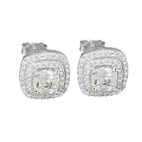 Cubic Zirconia Micro Pave Sterling Silver Earring, 925 Sterling Silver, Square, micro pave cubic zirconia & faceted, 10x10x17mm, Sold By Pair