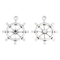 Coconut Pendants, Zinc Alloy, Ship Wheel, antique silver color plated, nautical pattern, lead & cadmium free, 24x28x3mm, Hole:Approx 2mm, Inner Diameter:Approx 2mm, 100G/Bag, Sold By Bag