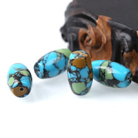 Mosaic Turquoise Beads, Oval, natural, 15x25mm, Hole:Approx 1mm, Sold By PC