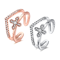 comeon® Finger Ring, Brass, Cross, plated, open & for woman & with cubic zirconia, more colors for choice, 13mm, US Ring Size:8, Sold By PC