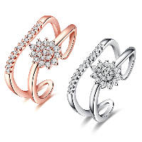 comeon® Finger Ring, Brass, Teardrop, plated, open & for woman & with cubic zirconia, more colors for choice, 12mm, US Ring Size:8, Sold By PC