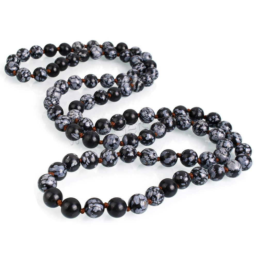 Snowflake Obsidian Bead, Round, natural, different length for choice, 8mm, Hole:Approx 1mm, Sold By Strand