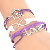 Zinc Alloy Combined Bracelet, Ship Wheel & love & infinity, with Waxed Linen Cord & PU & Velveteen, with 5cm extender chain, antique silver color plated, nautical pattern & Unisex & 4-strand, purple, lead & cadmium free, 20cm, Length:Approx 7.5 Inch, Sold By Strand