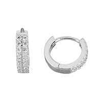 Cubic Zirconia Micro Pave Sterling Silver Earring, 925 Sterling Silver, micro pave cubic zirconia, 3x12.5x13.5mm, Sold By Pair