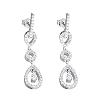 925 Sterling Silver Drop Earring, Teardrop, micro pave cubic zirconia, 8.5x37x14mm, Sold By Pair