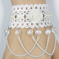 Lace Bracelet, with Crystal & Resin & Zinc Alloy, with 2.7lnch extender chain, plated, for bridal & faceted, Length:Approx 6 Inch, Sold By Strand