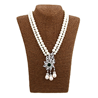 Cubic Zircon Micro Pave Brass Necklace, Glass Pearl, with Brass, platinum plated, micro pave cubic zirconia & for woman & 2-strand, 41x90x15mm, 7.5x8x8mm, 9.5x10x10mm, Length:Approx 20.5 Inch, Sold By Strand