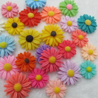 Mobile Phone DIY Decoration, Resin, Chrysamthemum, flat back, mixed colors, 9mm, 200PCs/Bag, Sold By Bag