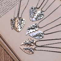 Couple Zinc Alloy Necklace, with 1.9lnch extender chain, Heart, plated, Unisex & box chain & different designs for choice, nickel, lead & cadmium free, 15x30mm, Length:Approx 18.5 Inch, 2Strands/Set, Sold By Set