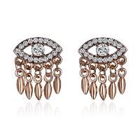 Evil Eye Earrings, Zinc Alloy, brass post pin, rose gold color plated, for woman & with rhinestone, 20x25mm, Sold By Pair