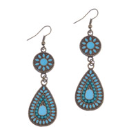 Resin Zinc Alloy Earring, with Resin, antique gold color plated, Bohemian style & enamel, 20x70mm, Sold By Pair