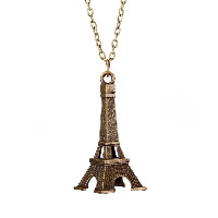 comeon® Jewelry Necklace, Zinc Alloy, with 1.96lnch extender chain, Eiffel Tower, antique bronze color plated, oval chain & for woman, 20x50mm, Length:Approx 18.1 Inch, Sold By Strand