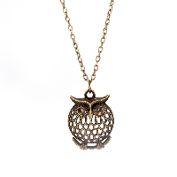 comeon® Jewelry Necklace, Zinc Alloy, with 1.9lnch extender chain, Owl, antique bronze color plated, oval chain & for woman & hollow, 25x34mm, Length:Approx 18.1 Inch, Sold By Strand