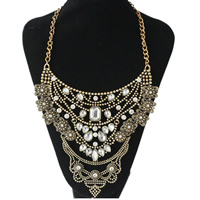 Crystal Zinc Alloy Necklace, with Crystal, antique gold color plated, twist oval chain & for woman & faceted & with rhinestone, Length:Approx 20 Inch, Sold By Strand