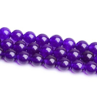 Purple Chalcedony Bead, Round, natural, different size for choice, Hole:Approx 1-2mm, Length:Approx 15 Inch, Sold By Strand