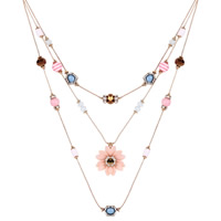 Fashion Multi Layer Necklace, Zinc Alloy, with Crystal & Resin & Acrylic, Flower, KC gold color plated, 3-strand & faceted & with rhinestone, lead & cadmium free, 30x30mm, Length:Approx 17 Inch, Sold By Strand