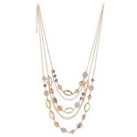 Fashion Multi Layer Necklace, Zinc Alloy, with glitter leather & Crystal, with 5cm extender chain, KC gold color plated, oval chain & 3-strand & faceted, lead & cadmium free, 200x170mm, Length:Approx 18.5 Inch, Sold By Strand