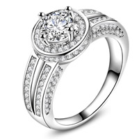 Cubic Zirconia Micro Pave Brass Finger Ring, Flower, real silver plated, with 925 logo & different size for choice & micro pave cubic zirconia & for woman, lead & cadmium free, 25x6mm, Sold By PC