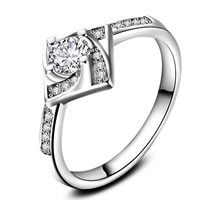 Cubic Zirconia Micro Pave Brass Finger Ring, real silver plated, with 925 logo & different size for choice & micro pave cubic zirconia & for woman, lead & cadmium free, 22x2.5mm, Sold By PC