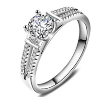 Cubic Zirconia Micro Pave Brass Finger Ring, real silver plated, with 925 logo & different size for choice & micro pave cubic zirconia & for woman, lead & cadmium free, 23x4mm, Sold By PC