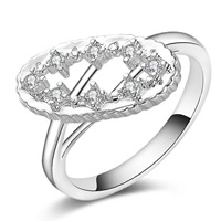 Cubic Zirconia Micro Pave Brass Finger Ring, Flat Oval, real silver plated, with 925 logo & micro pave cubic zirconia & for woman, lead & cadmium free, 9x17mm, US Ring Size:8, Sold By PC