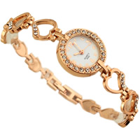 Fashion Watch Bracelet, Zinc Alloy, with Glass, Chinese movement, plated, for woman & with rhinestone, 13x23mm, Length:Approx 7.4 Inch, Sold By Strand
