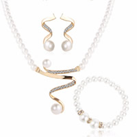 Wedding Jewelry Set, Glass Pearl, bracelet & earring & necklace, with Zinc Alloy, brass post pin, with 1.9lnch extender chain, gold color plated, for bridal & with rhinestone, 30mm,20mm, Length:Approx 19.2 Inch, Approx 7 Inch, Sold By Set