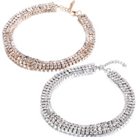 Fashion Choker Necklace, Rhinestone, with Zinc Alloy, with 1.7lnch extender chain, plated, for woman & with rhinestone, more colors for choice, Length:Approx 11.4 Inch, Sold By Strand