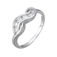 Cubic Zirconia Micro Pave Sterling Silver Finger Ring, 925 Sterling Silver, micro pave cubic zirconia & for woman, 6mm, US Ring Size:8, Sold By PC