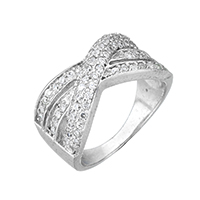Cubic Zirconia Micro Pave Sterling Silver Finger Ring, 925 Sterling Silver, micro pave cubic zirconia & for woman, 10.5mm, US Ring Size:7, Sold By PC
