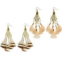 Fashion Feather Earring , Zinc Alloy, with Feather & Japanese Glass Seed Bead, brass earring hook, antique bronze color plated, different designs for choice & for woman & faceted, 115mm, Sold By Pair