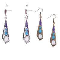 Cats Eye Earring, Zinc Alloy, with Cats Eye, plated, different styles for choice & for woman & enamel, 10x65mm, Sold By Pair