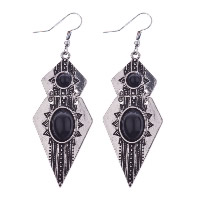 Resin Zinc Alloy Earring, with Resin, antique silver color plated, for woman, 26x56mm, Sold By Pair